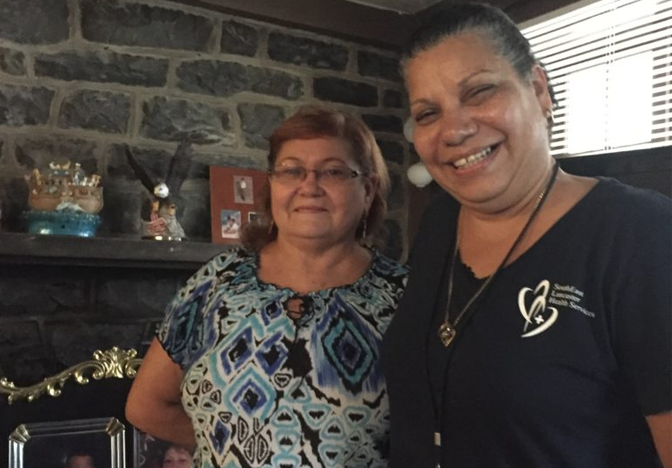 """I am very pleased to have Madeline visit me. She helps me keep my sugars controlled, always checks my medications, and reminds me of my appointments."" Madeline sees healthy changes in Sonia, both physical and mental. ""She's doing so much better. Her diet has changed, she has lost some weight, and her spirits are higher now."""